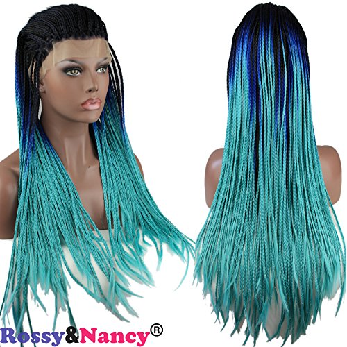 Rossy&Nancy Best Quality Black Ombre Blue Lace Front Braid Wig With Baby Hair for Black Women (Black Long Wig With Two Braids)