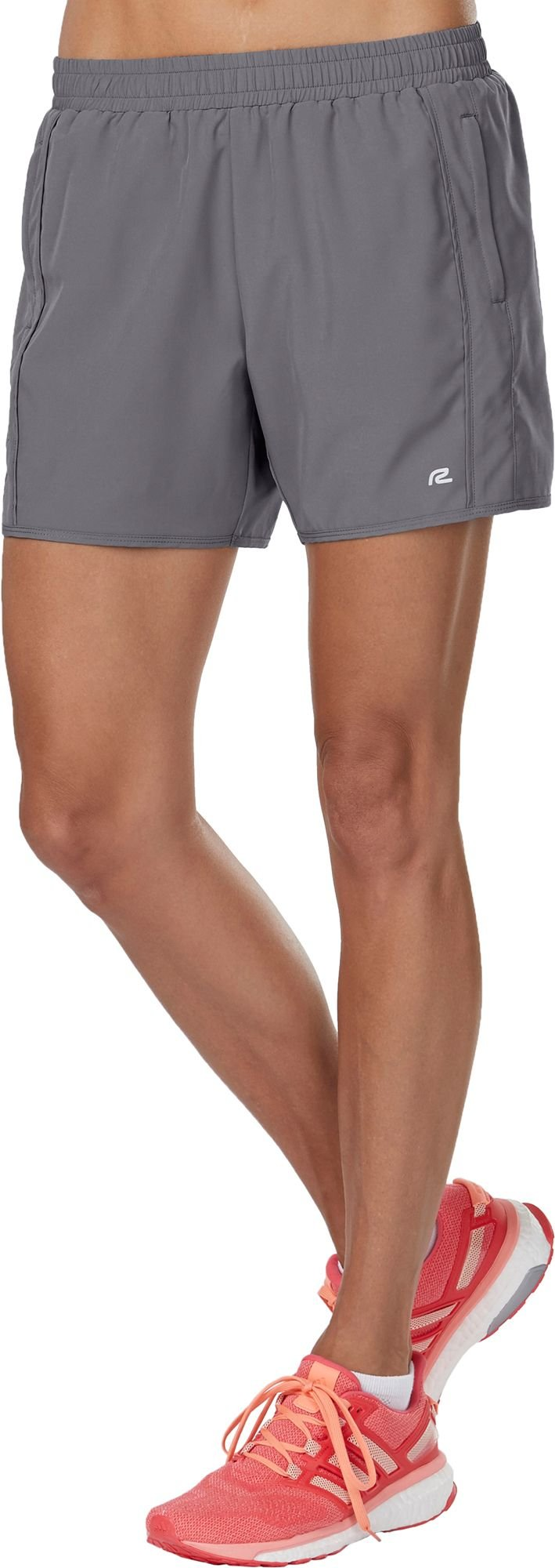 R-Gear Women's High Five Running Shorts 5-inch Length | Multiple Pockets with Zippers, Inner Brief Liner, Breathable Fabric, Grey Mist, XS