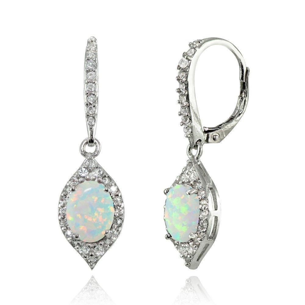 LOVVE Sterling Silver Simulated White Opal & White Topaz Oval Dangle Earrings