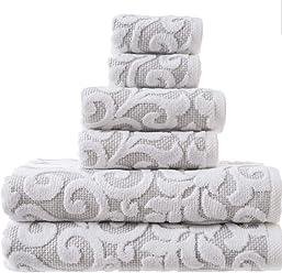 Tahari Home Bathroom Towel Set 6 Pc Sroll Filligree Floral Medallion Gray White Bath Bathroom Towels