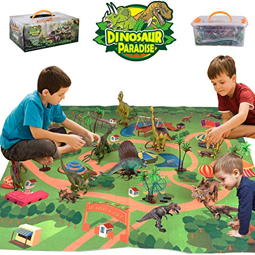 Alagoo Dinosaur Toys, Realistic Dinosaur Figures with Activity Play Mat & Trees, Educational Dinosaur Playset to Create a Dino World Including T-Rex, Triceratops, Velociraptor, Gift for Kids