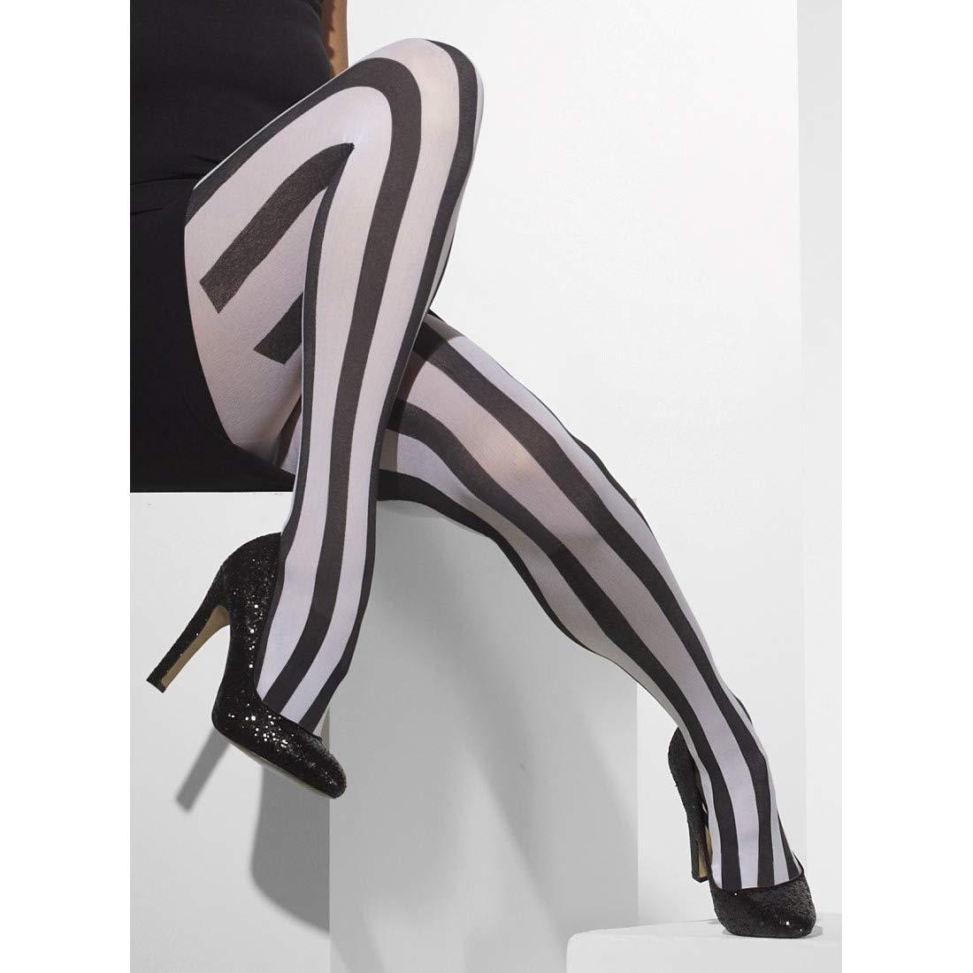 NET TOYS Collant Opaque rayé   Noir-Blanc   Accessoire Exceptionnel pour Femme Arlequin   Parfait pour Carnaval & Mardi Gras
