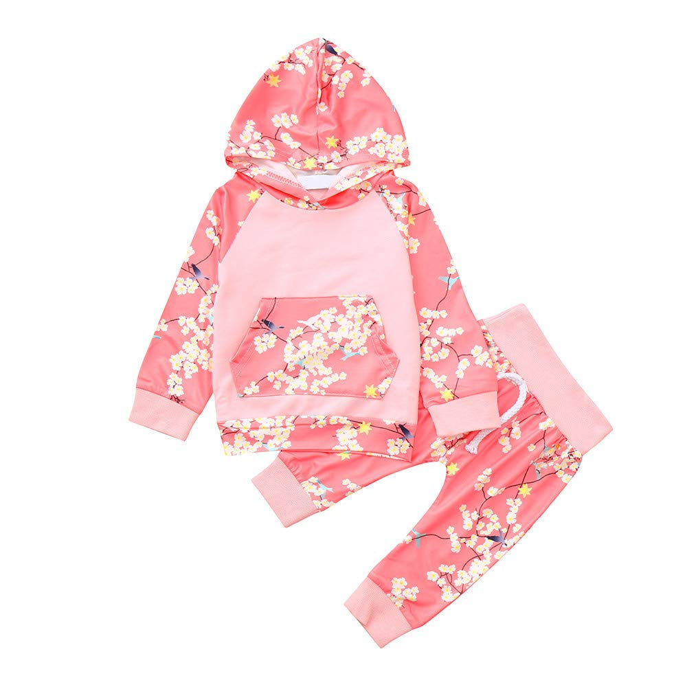 Little Girl Hoodie Sets,Jchen(TM) 2Pcs Newborn Infant Baby Boys Girls Floral Print Hooded Tops Pants Outfits Set for 0-4 Y (Age: 6-12 Months)