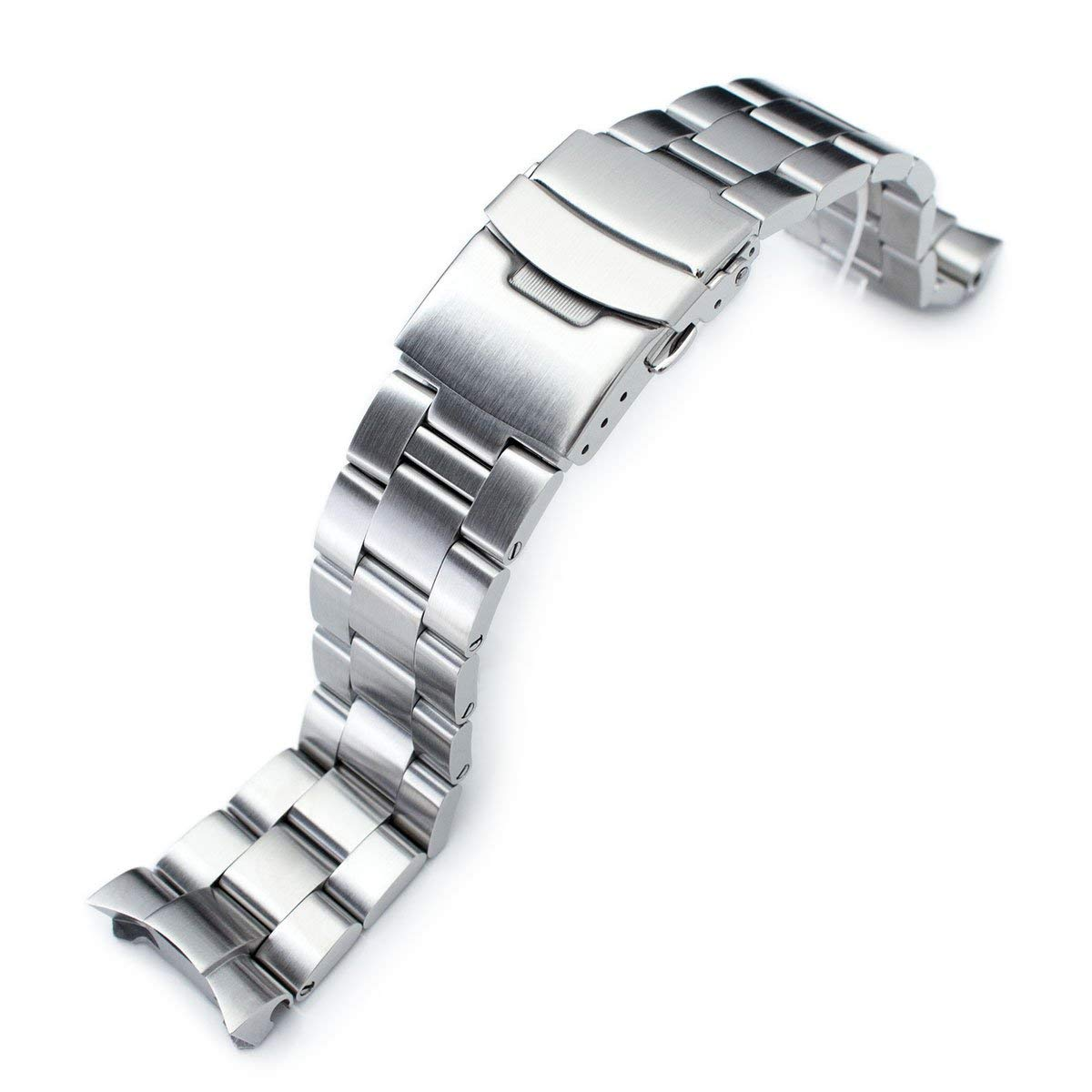 MiLTAT 22mm Watch Band for Seiko SKX007 SKX009, Super-O Screw-Link, 20mm Clasp Size