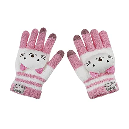 New Children Gloves Kitten Face Full Finger Mitten Boys Girls Winter Warm Gloves