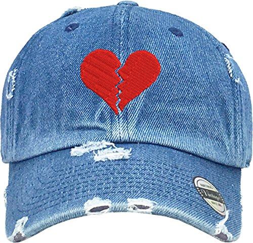 Allntrends Adult Vintage Dad Hat Red Broken Heart Embroidered Trending Cap (Medium (Heart Denim)