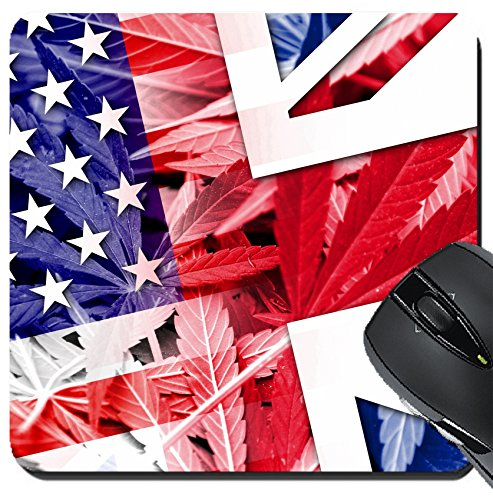 MSD Suqare Mousepad 8x8 Inch Mouse Pads/Mat design: 37879323 USA and UK Flag on cannabis background policy Legalization of - Uk Policy Returns