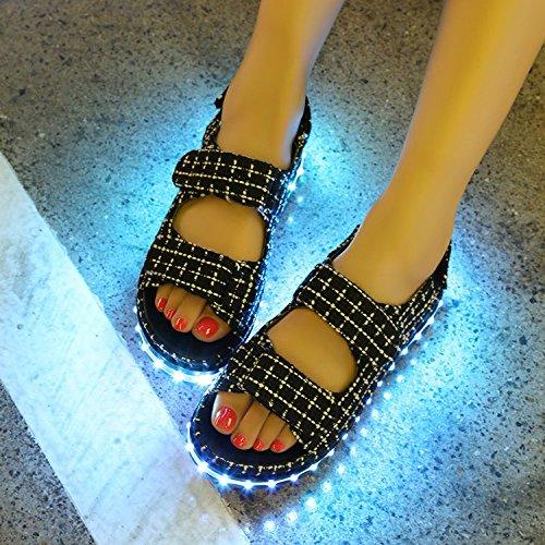 nuevo estilo Black creativa Style light blue de Muffin personalizada Verano moda nuevo Wild brillante sandalias 7tqdndwB