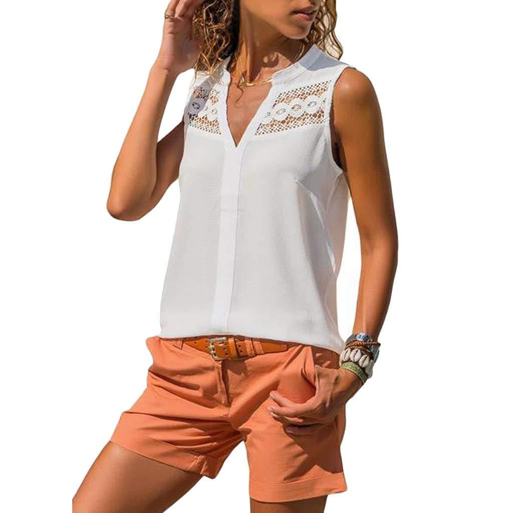 Kiminana Store Women's Sleeveless Notched V Neck Crochet Lace Tank Tops Blouse White