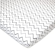 American Baby Company Printed 100% Natural Cotton Jersey Knit Fitted Pack N Play Playard Sheet, Grey Zigzag, Soft Breathable, for Boys and Girls