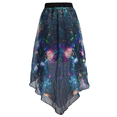 2a8473198 Image Unavailable. Image not available for. Color: SAYM Women Pleated  Chiffon Galaxy Cosmic Digital Printed Skirts
