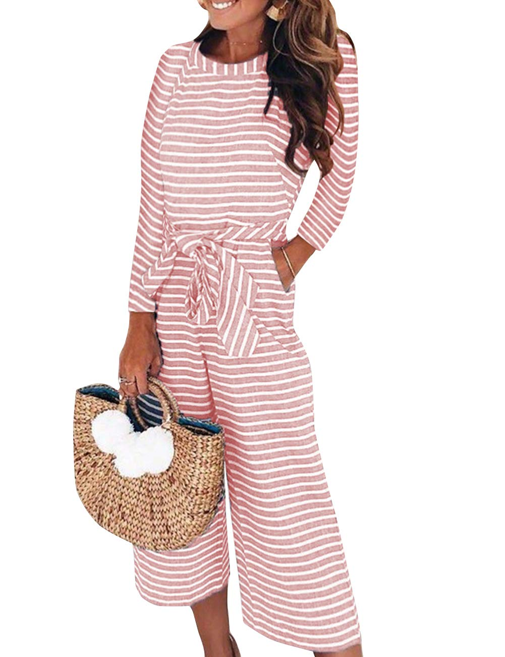 FeelinGirl Women's Striped Jumpsuits High Waisted with Belt All in one Playsuit AKH180080BK01