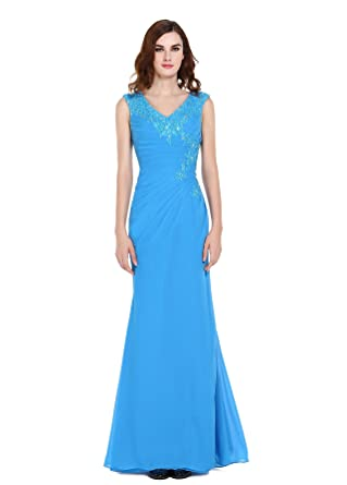 Vegeron V Neck Sleeveless Chiffon Long Evening Dress Formal for Women with Lace Applique Blue Size