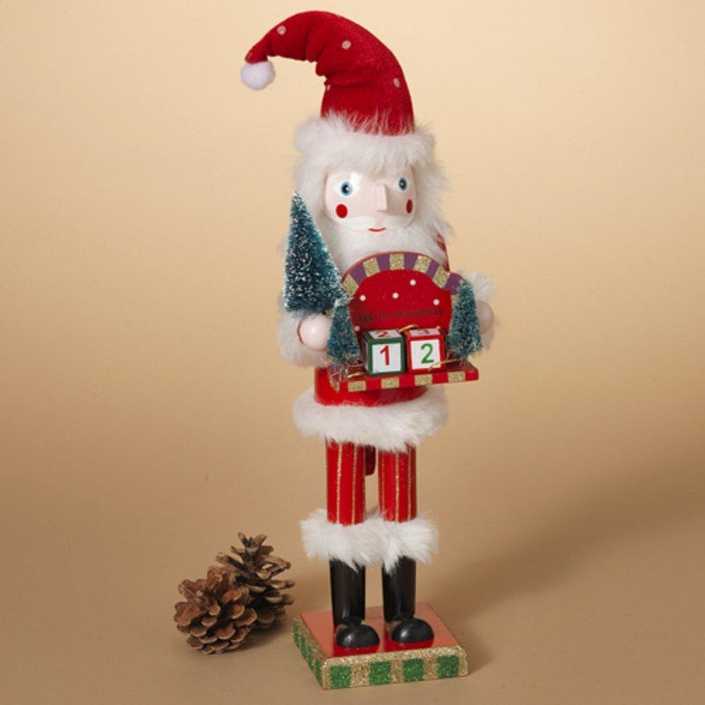 Gerson 15''H Wood Santa Nutcracker w/ Countdown Calendar