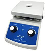HYCC SH-2 Laboratory Magnetic Stirrer HotPlate, 120x120mm Aluminium Panel, 30mm Mixer Stir Bar and Thermometer Support, Heating & Stirring Type