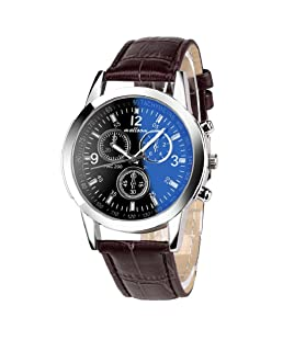 Business Quartz Watch,Hosamtel Classical Faux Leather Blue Ray Glass Analog Men Watch (Brown 1)