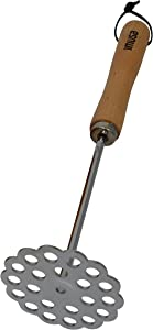 IMUSA IMU-71125 Metal Potato Masher with Handle, Wood