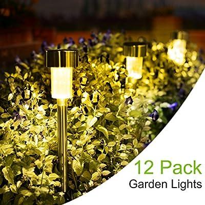 SUNNEST Solar Lights Outdoor, Stainless Steel Waterproof Outdoor Lights - 12Pack, LED Landscape Outdoor Solar Powered Lights Solar Garden Lights for Pathway Walkway Driveway Yard & Lawn