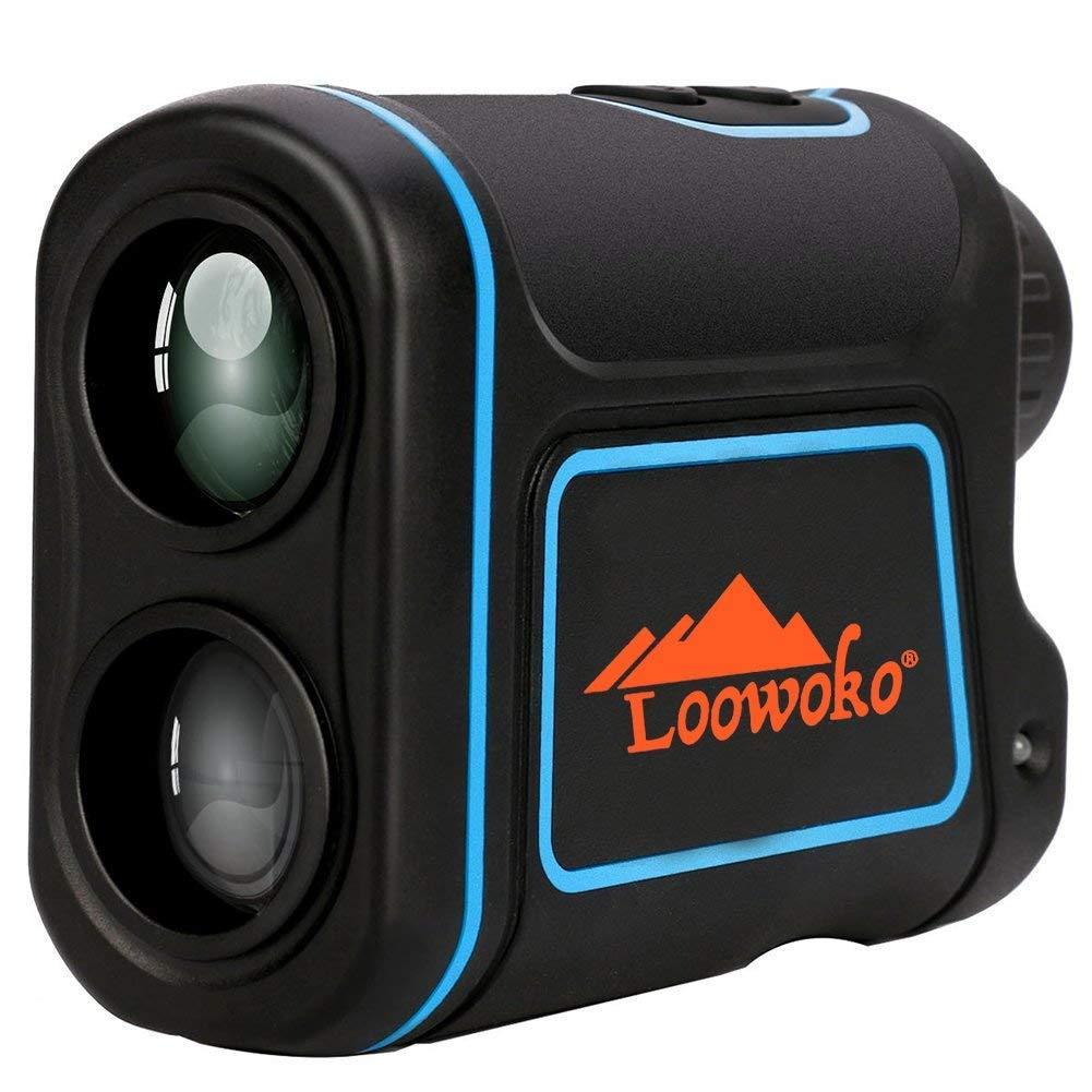 Loowoko 656 Yards Telescope Rangefinder, Portable Handheld Rechargeable Binoculars Laser Rangefinder Golfing Hunting Racing (Black)