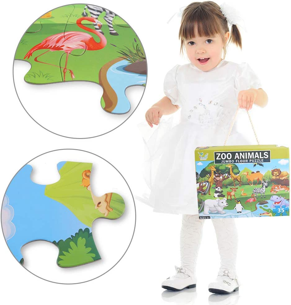 LovesTown Kid Floor Puzzle,35 Pcs Jumbo Puzzles 2 x 1.5 Ft Giant Floor Puzzle Animals Jigsaw Puzzles for Pre-School Educational Toy