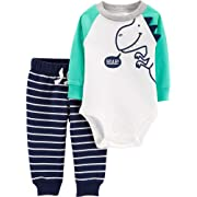 Carter's Baby Boys Graphic Slogan 2-Piece Bodysuit & Pant Set (3 Months, Roar/Stripe)