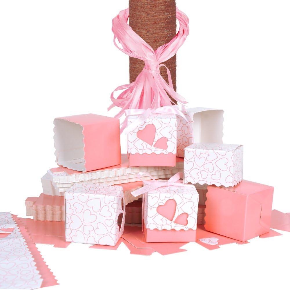QUMAO 100 × Cajas de Caramelo Dulces Bombones para Boda Fiestas Cumpleaños Bautizo Detalles Recuerdos Decoración Favor para Invitados de Boda (Rosa)