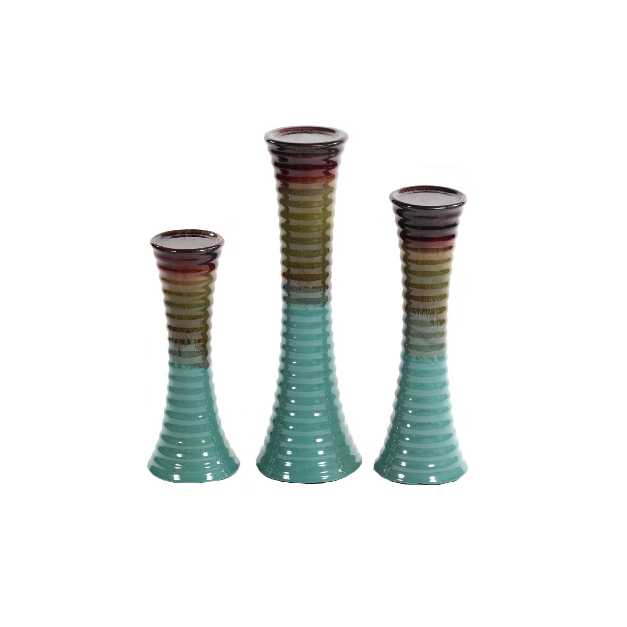 Essentials Décor Entrada Collection 3-Piece Ceramic Candle Holder Set, Turquoise and Brown