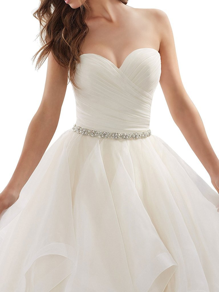 APXPF Women's Organza Ruffles Ball Gown Wedding Dresses Bride Dress White US2 by APXPF (Image #3)
