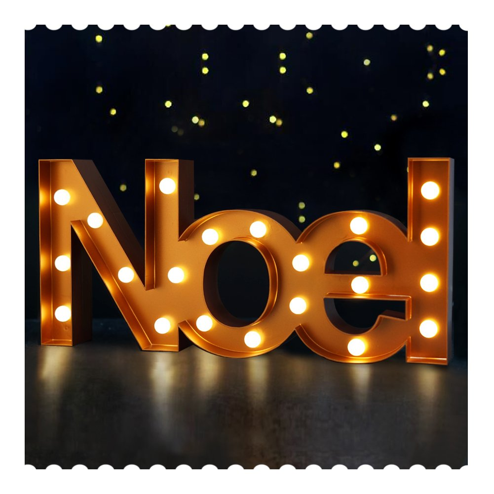 Bright Zeal 8.5'' Tall Large LED Noel Marquee Sign Letters (Bronze, 6hr Timer) - LED Marquee Letters with Lights Nativity Decor - Christian Gifts Nativity Set Indoor - Church Wedding Decorations