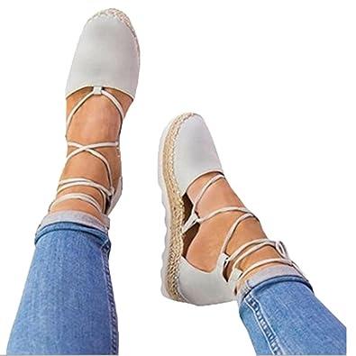 7dd67df99c477 LUCKYCAT Prime Day Amazon, Sandales d été Femme Chaussures de Été Sandales  à Talons Chaussures Plates Chaussures de Toile Pointu Bandages Fond de  Paille ...