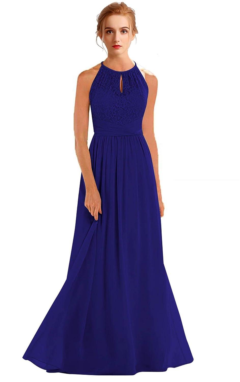 Bright Royal bluee VaniaDress Women Halter Sleeveless Long Evening Dress Formal Gowns V266LF