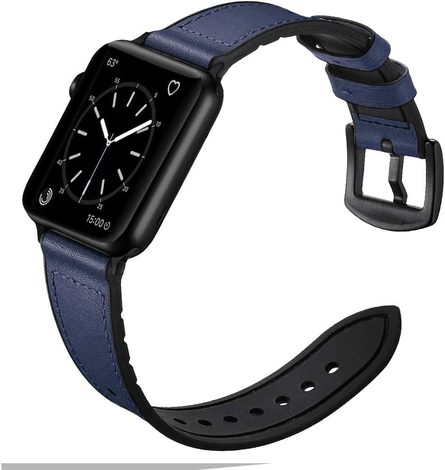 Misker Leather Band Compatible Withe Apple Watch 38mm 40mm 42mm 44mm, Genuine Leather Withe Silicone Replacement Strap Buckle Compatible with iWatch Series 5/4/3/2/1 (Midnight blue, 38mm/40mm)