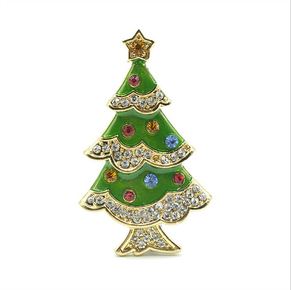 WeiMay Spilla albero di Natale elegante decorazione in lega da sposa Natale regalo abbigliamento donna uomo di Brooch Spilla natalizia fermaglio accessori