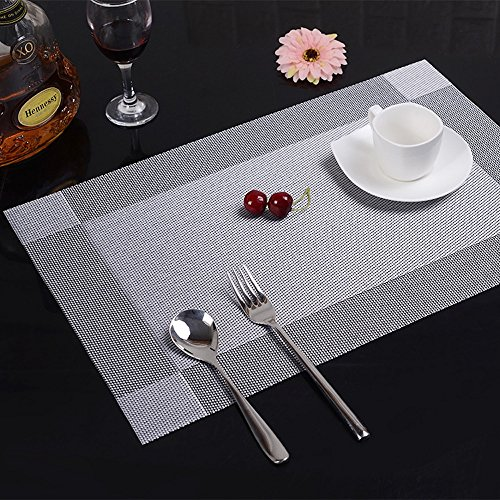 Silver Placemats, Set of 8 by Thinhphoco, Artand Heat-resistant Place mats Stain Resistant, Non-slip Washable PVC Table Mats Woven Vinyl Placemat, 12x18