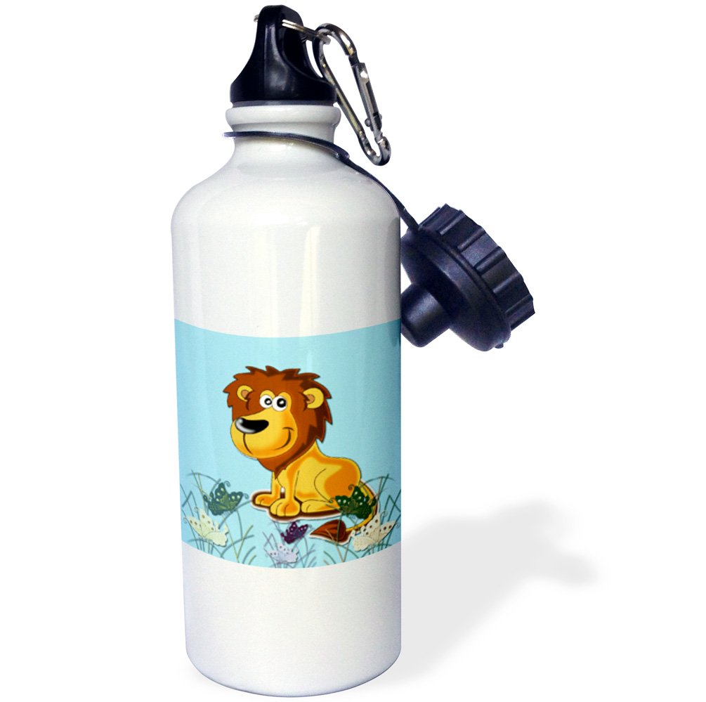3dRose wb/_218424/_1 Cute Lion Blue Kids decor Cool image Sports Water Bottle 21oz Multicolored