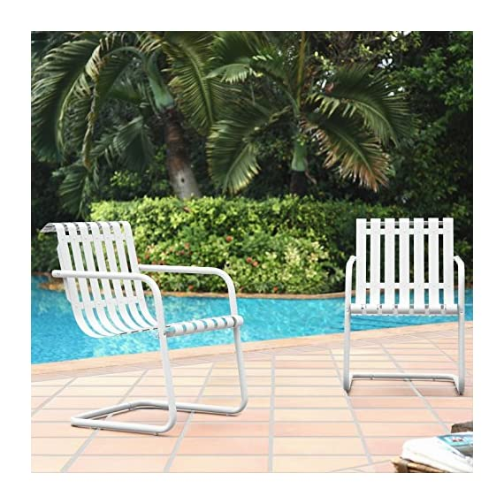 Crosley Furniture Gracie Retro Metal Outdoor Spring Chair - Alabaster White (Set of 2) - Sturdy Steel Construction for lasting durability Easy to assemble UV resistant, vibrant color - patio-furniture, patio-chairs, patio - 61Nh3yBMknL. SS570  -