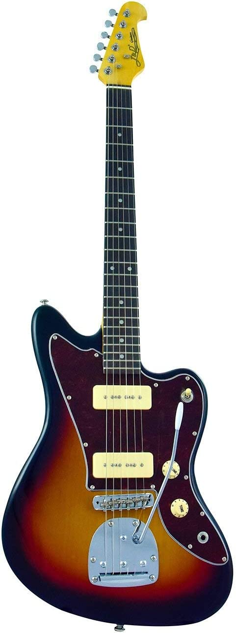 Cnz Audio Jm Electric Guitar Sunburst, 3-Ply Black Pickguard, Maple Neck, Twin P-90 Pickups, Pure Tone Awesomeness