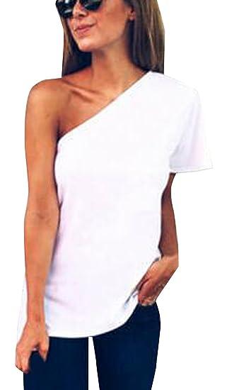 Mujeres Tops One-Hombro Manga Corta Camisetas Blusa Moda Colores Lisos T-Shirt Camisas Remata, Verano Nuevo: Amazon.es: Ropa y accesorios