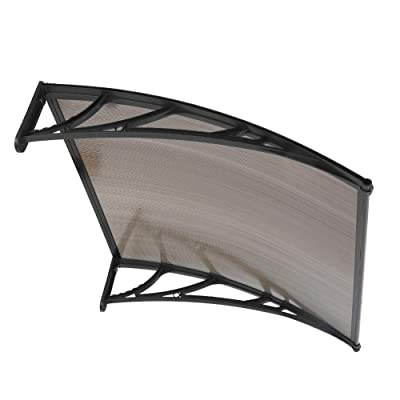 """39""""x 39"""" Outdoor Window Door Awning,Patio Cover UV Rain Snow Protection One-Piece Hollow Sheet Sun Shield Cover (Brown Plate Black Bracket): Home Improvement"""
