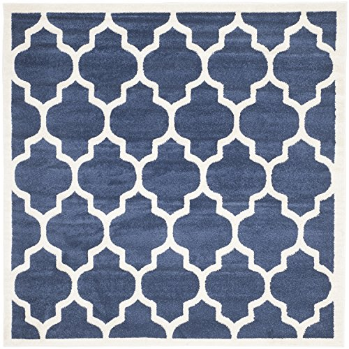 5 Square Rug (Safavieh Amherst Collection AMT420P Navy and Beige Indoor/ Outdoor Square Area Rug (5' Square))