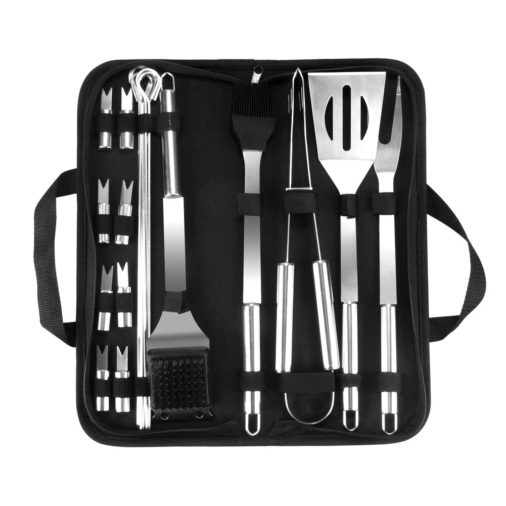 Outry BBQ Grill Tool Set, 20pcs Barbecue Stainless Steel Grilling Utensils, Outdoor Camping Grill Accessories with Carrying Box, Ideal Grill Gift for Men Women