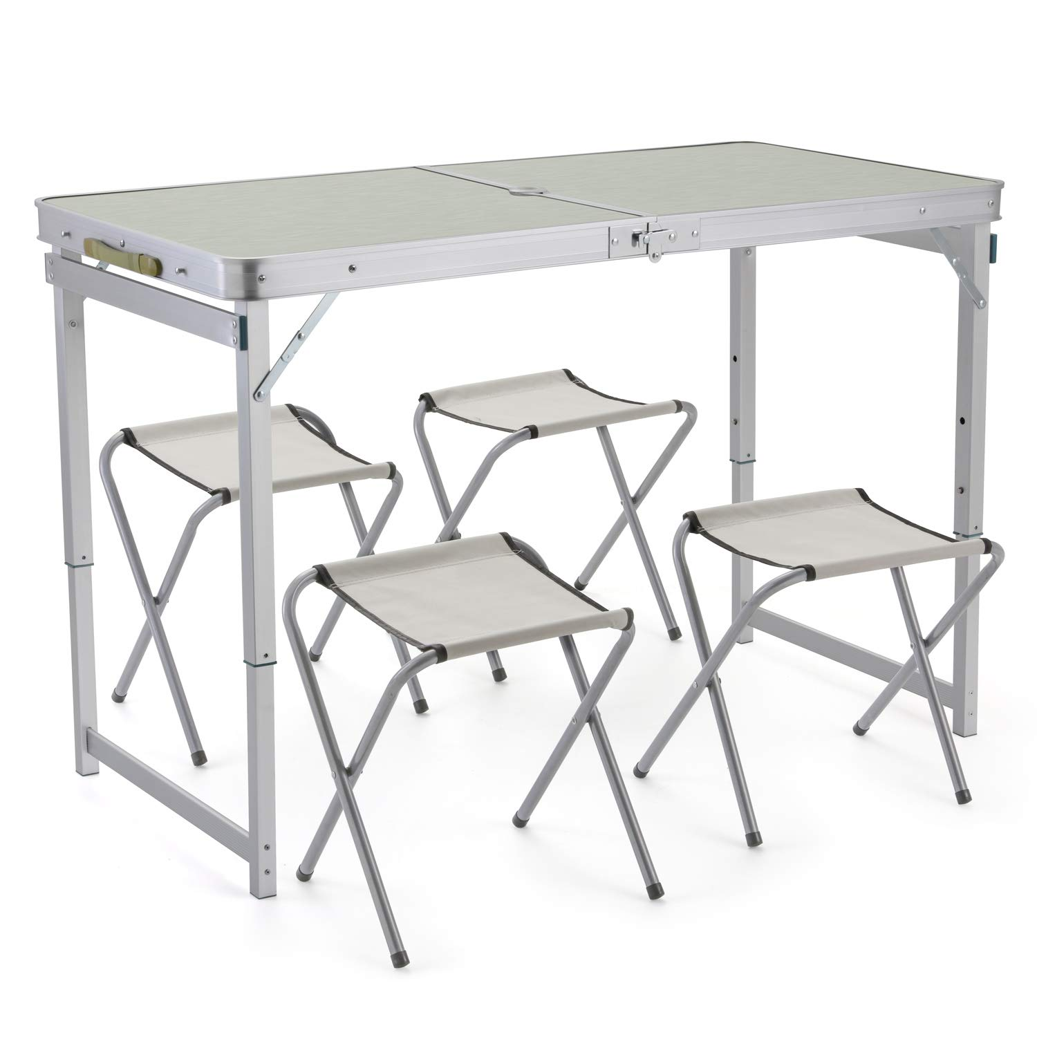 Sunkorto 4-Person Folding Picnic Table with 4 Stools, 4 Feet Aluminum Table Chair Set Heights Adjustable, Portable and Lightweight for Outdoor, Camping, Dining, BBQ Party by Sunkorto