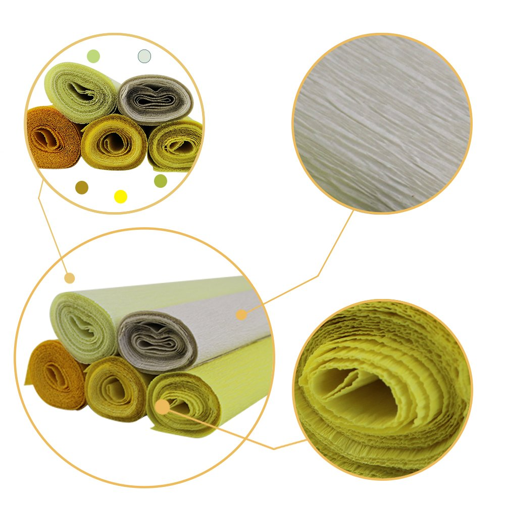8ft Length//20in Width Just Artifacts Premium Crepe Paper Rolls 5pcs, Color: Shades of Green