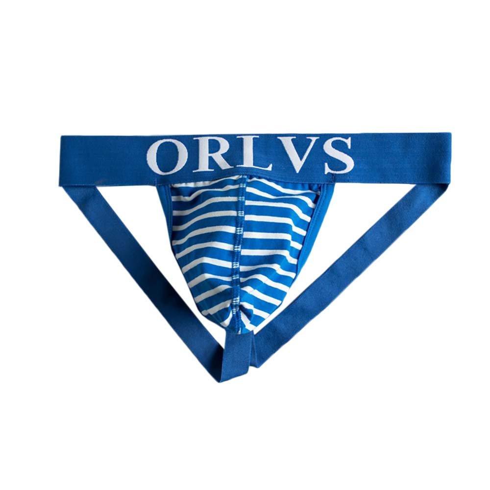 Mens Underwear Fxbar,Brand Stripes G-String Thongs Underwear Jockstrap Briefs Shorts(Blue,M)