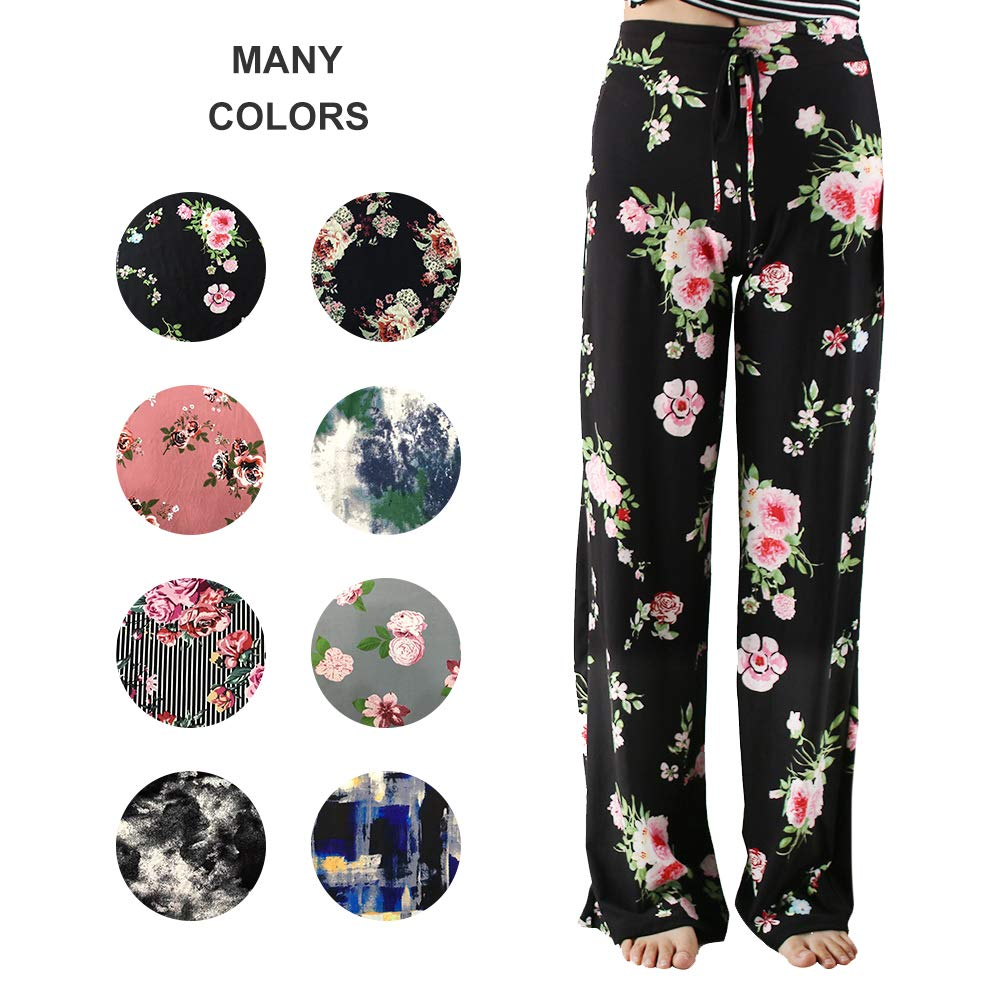 ZOOSIXX Pajama Pants for Women – Floral Print Drawstring Casual Palazzo Pants Wide Leg for Summer (L, Black 01)