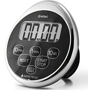 Dretec Digital Kitchen Timer, Water Proof Timer, Magnetic Backing, Silver,  Black,