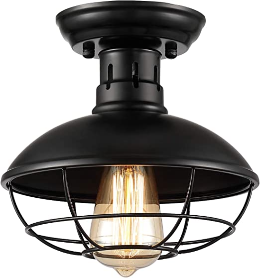 Upgraded Zoossi Cage Light Fixtures Black Metal Cage Ceiling Light Semi Flush Mount E26 Industrial Vintage Rustic Light Farmhouse For Porch Foyer