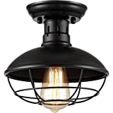 【Upgraded】ZOOSSI Cage Light Fixtures Black, Metal Cage Ceiling Light Semi Flush Mount E26, Industrial Vintage Rustic Light Farmhouse for Porch Foyer Kitchen Entryway, Industrial Ceiling Light Pendant