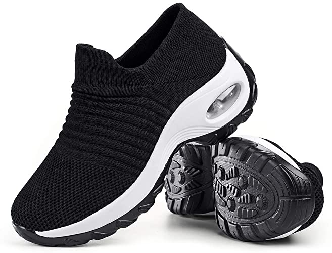 Women/'s Sport Air Cushion Sneakers Breathable Walking Slip-On Running Sock Shoes