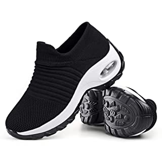 Women's Walking Shoes Sock Sneakers - Mesh Slip On Air Cushion Lady Girls Modern Jazz Dance Easy Shoes Platform Loafers Black&White,10